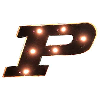 Purdue Boilermakers Recycled Metal Wall Decor P Illuminated   LRT SALES   PWDLGT