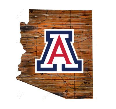 Arizona Wildcats Distressed State Wall Art |FAN CREATIONS |  C0728-Arizona