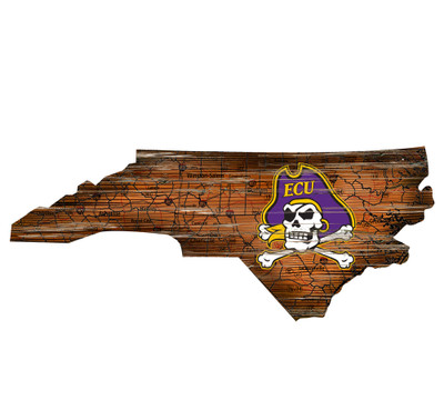 East Carolina Pirates Distressed State Wall Art |FAN CREATIONS |  C0728-ECU
