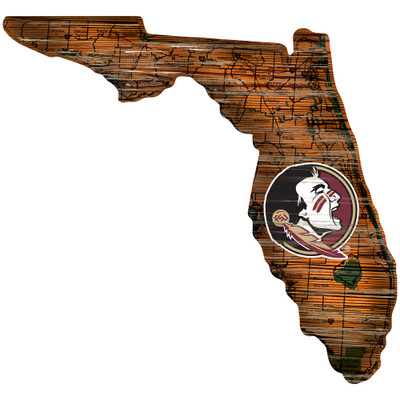 Florida State Seminoles Distressed State Wall Art  FAN CREATIONS    C0728-Florida State