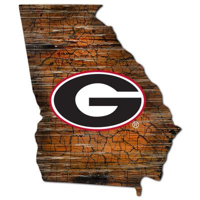 Georgia Bullldogs Distressed State Wall Art |FAN CREATIONS |  C0728-Georgia