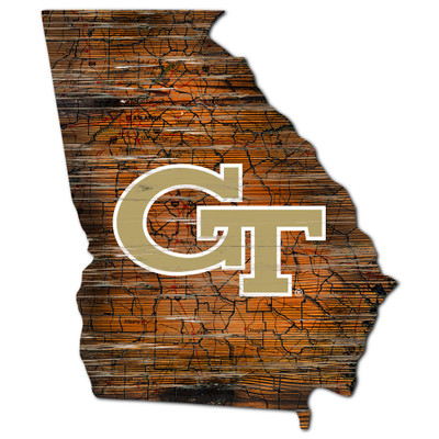Georgia Tech Yellow Jackets Distressed State Wall Art |FAN CREATIONS |  C0728-Georgia Tech