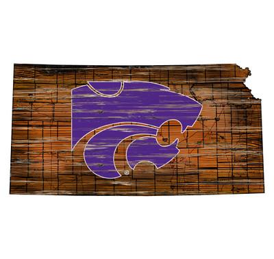 Kansas State Wildcats Distressed State Wall Art |FAN CREATIONS |  C0728-Kansas State