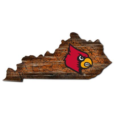 Louisville Cardinals Distressed State Wall Art |FAN CREATIONS |  C0728-Louisville
