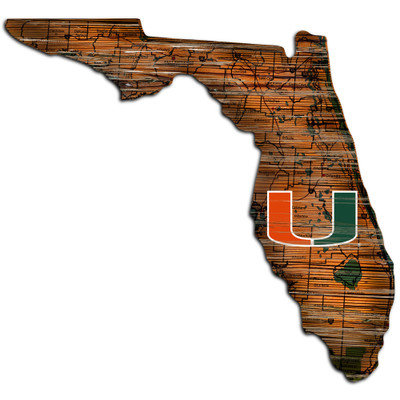 Miami Hurricanes Distressed State Wall Art |FAN CREATIONS |  C0728-Miami