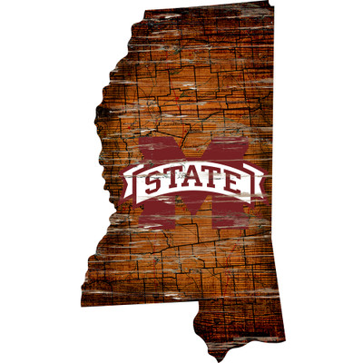 Mississippi State Bulldogs Distressed State Wall Art |FAN CREATIONS |  C0728-Mississippi State