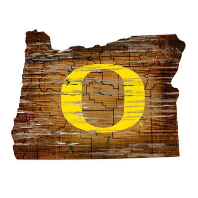 Oregon Ducks Distressed State Wall Art |FAN CREATIONS |  C0728-Oregon