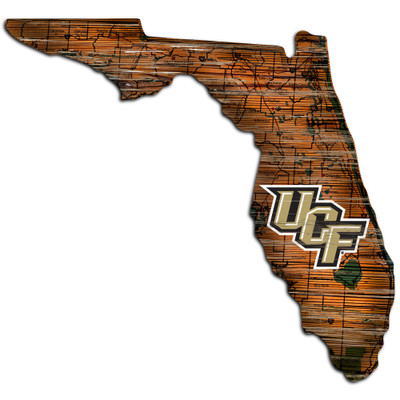 UCF Knights Distressed State Wall Art |FAN CREATIONS |  C0728-UCF