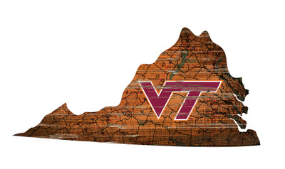Virginia Tech Hokies Distressed State Wall Art |FAN CREATIONS |  C0728-Virginia Tech