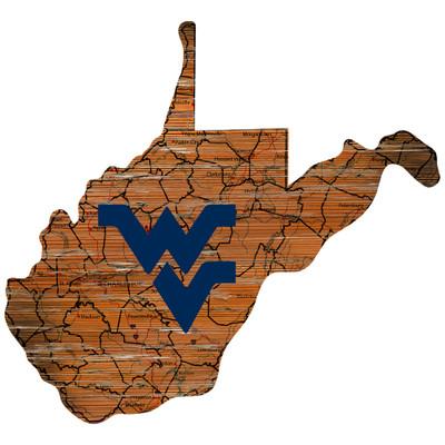 West Virginia Mounaineers Distressed State Wall Art |FAN CREATIONS |  C0728-West Virginia
