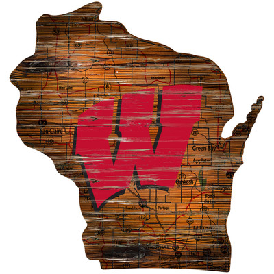 Wisconsin Badgers Distressed State Wall Art |FAN CREATIONS |  C0728-Wisconsin