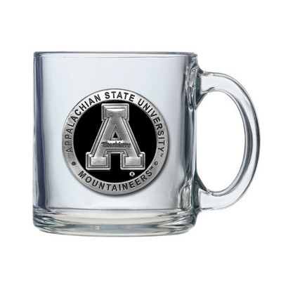 Appalachian State Mountaineers Clear Glass Coffee Mug Set of 2  | Heritage Pewter | CM10325EKCL