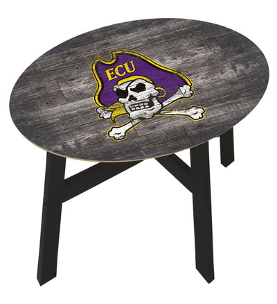 ECU Pirates Distressed Wood Side Table | FAN CREATIONS | C0823