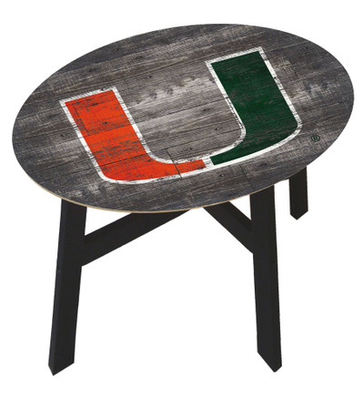 Miami Hurricanes Distressed Wood Side Table |FAN CREATIONS | C0823-Miami