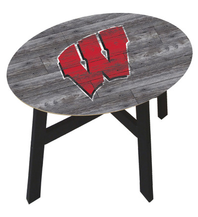 Wisconsin Badgers Distressed Wood Side Table |FAN CREATIONS | C0823-Wisconsin