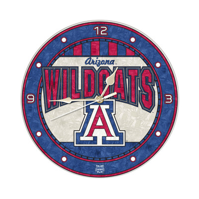 Arizona Wildcats 12in Art Glass Clock | MEMORY COMPANY |  COL-ARZ-274