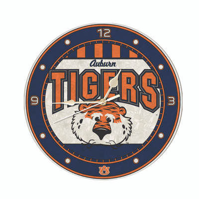 Auburn Tigers 12in Art Glass Clock | MEMORY COMPANY |  COL-AU-274