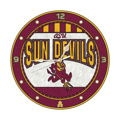 Arizona State Sun Devils 12in Art Glass Clock | MEMORY COMPANY |  COL-AZS-274