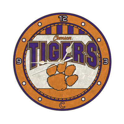 Clemson Tigers 12in Art Glass Clock | MEMORY COMPANY |  COL-CLM-274