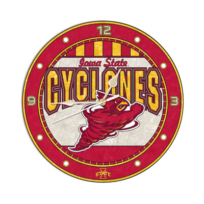 Iowa State Cyclones 12in Art Glass Clock | MEMORY COMPANY |  COL-IWS-274