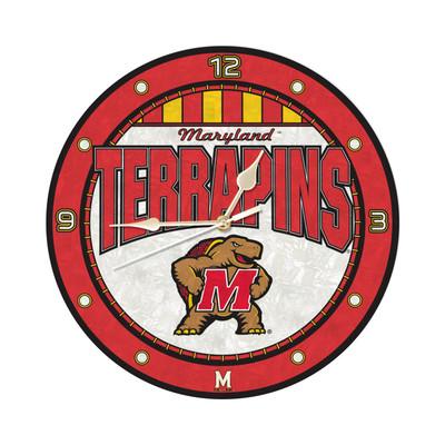 Maryland Terrapins 12in Art Glass Clock | MEMORY COMPANY |  COL-MAR-274