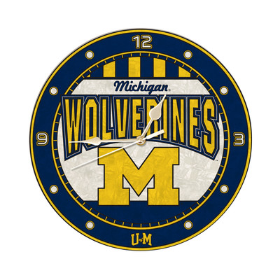 Michigan Wolverines 12in Art Glass Clock | MEMORY COMPANY |  COL-MH-274