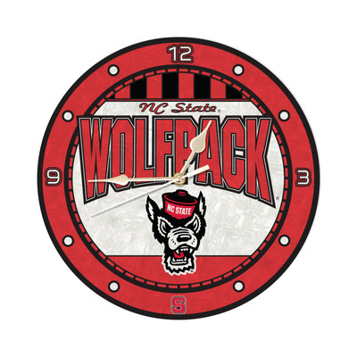 NC State Wolfpack 12in Art Glass Clock | MEMORY COMPANY |  COL-NCS-274