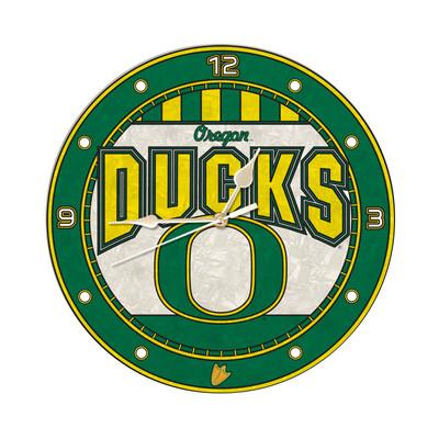 Oregon Ducks 12in Art Glass Clock | MEMORY COMPANY |  COL-ORE-274