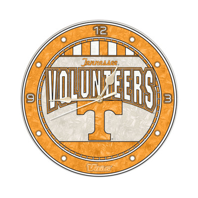 Tennessee Volunteers 12in Art Glass Clock | MEMORY COMPANY |  COL-TN-274