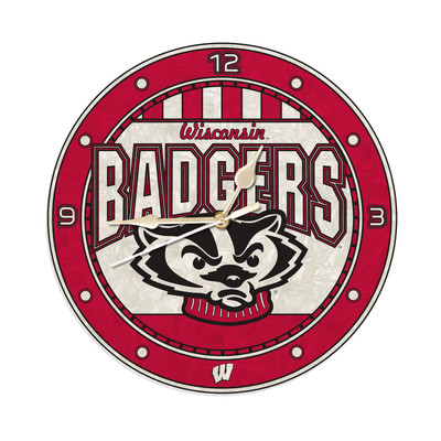 Wisconsin Badgers 12in Art Glass Clock | MEMORY COMPANY |  COL-WIS-274