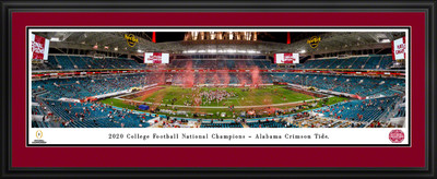 Alabama Crimson Tide National Champions 2020 Panoramic Photo Deluxe Matted Frame | Blakeway | CFPC21UALD