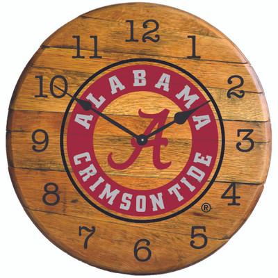 "Alabama Crimson Tide 21"" Barrel Team Logo Clock -circle GREENSTONES  BTC-AL-01"