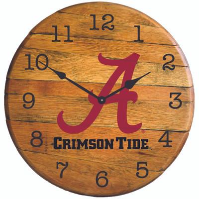 "Alabama Crimson Tide 21"" Barrel Team Logo Clock A Greenstones BTC-al-02"