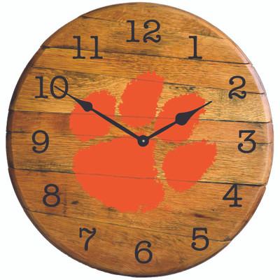 "Clemson Tigers paw 21"" Barrel Team Logo Clock | GREENSTONES|BTC-CLEM-01"