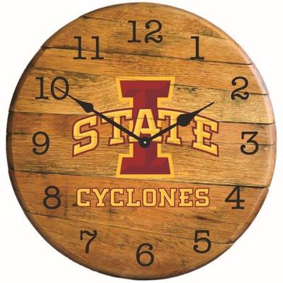 "Iowa Hawkeyes 21"" Barrel Team Logo ClocK | GREENSTONES | BTC-IAST-01"