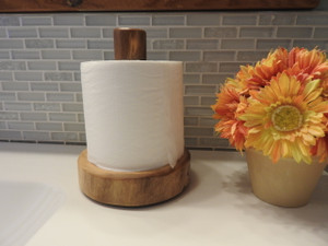 Log Countertop Toilet Paper Holder (Clear Finish)