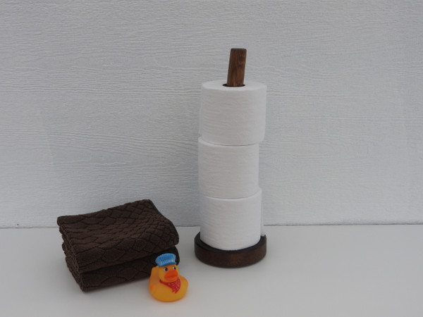 Log Toilet Paper Storage Rack - 3 Roll Holder (Espresso Stain)