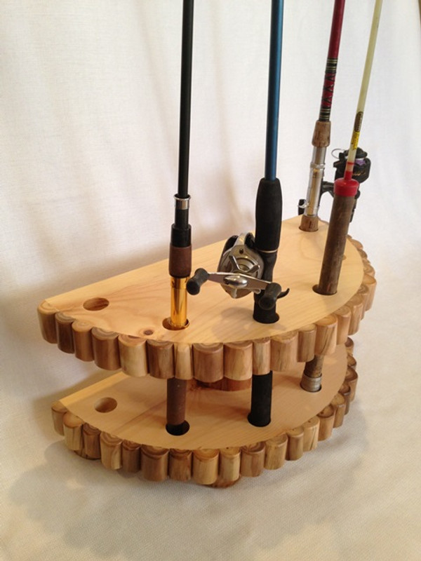 Aspen Mountain Log Cabin Fishing Rod & Reel Storage Rack Stand