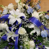 Blue & White Half Casket Spray (SCF18SY104) by Savilles Country Florist.  Flower and Plant delivery to Orchard Park, NY and the surrounding area including same day delivery to Hamburg, West Seneca, East Aurora, Blasdell and Buffalo NY