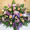 Lavender & Peach Casket Spray (SCF1141) by Savilles Country Florist.  Flower and Plant delivery to Orchard Park, NY and the surrounding area including same day delivery to Hamburg, West Seneca, East Aurora, Blasdell and Buffalo NY