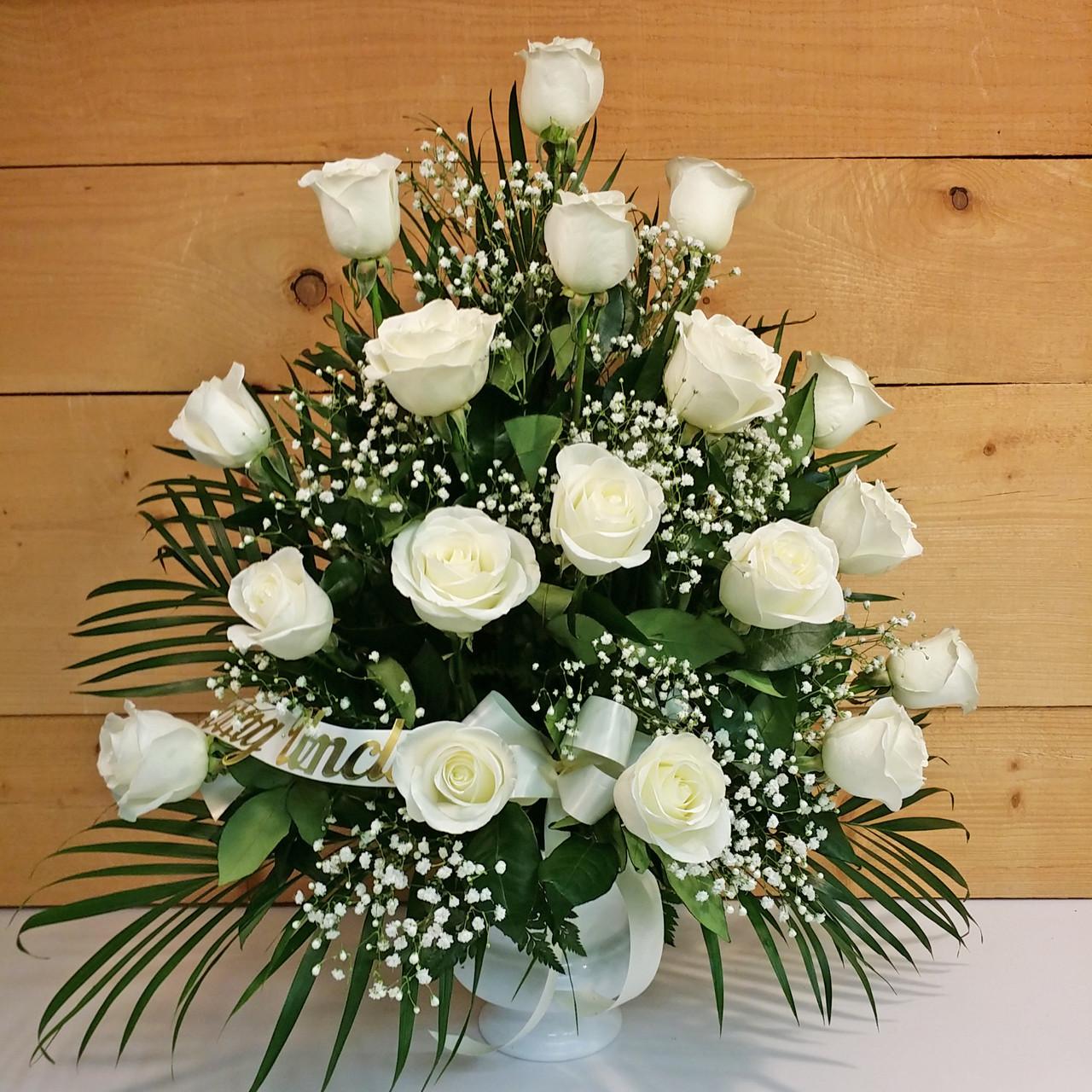 18 White Rose Sympathy Arrangement Savilles Country Florist