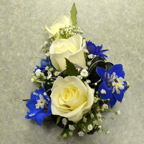 White Sweetheart Rose Corsage with Delphinium (CORS050)
