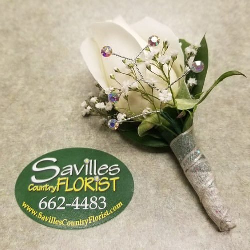 White Diamond Boutonniere (BOUT105-WD)
