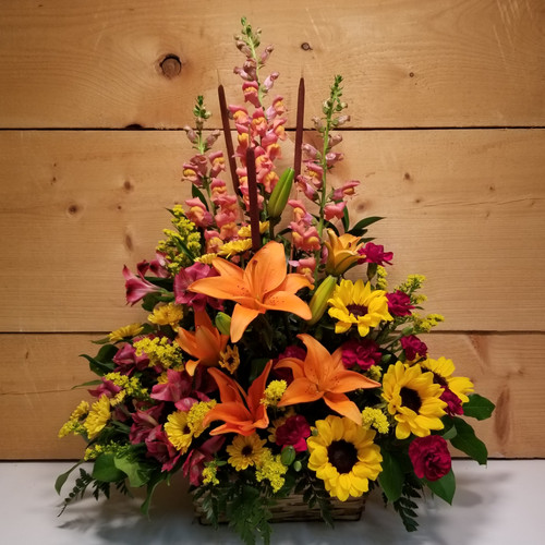 Harvest Blessings (SCF17F11) Autumn and Fall flowers from Savilles Country Florist in Orchard Park, NY