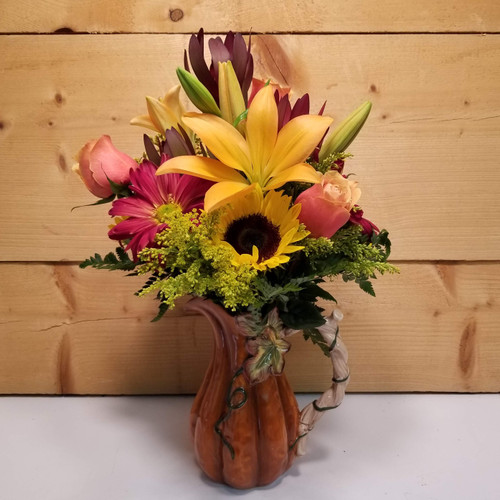 Plentiful Pitcher (SCF18F03) Fall, Autumn, Thanksgiving Centerpieces and Flower arrangements from Savilles Country Florist with same day delivery to Buffalo, NY and the surrounding suburbs including Orchard Park, Hamburg, West Seneca, East Aurora, Blasdell