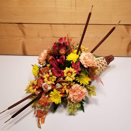 Fall Brights Cornucopia (SCF17F39) by Savilles Country Florist.  Flower and Plant delivery to Orchard Park, NY and the surrounding area including same day delivery to Hamburg, West Seneca, East Aurora, Blasdell and Buffalo NY