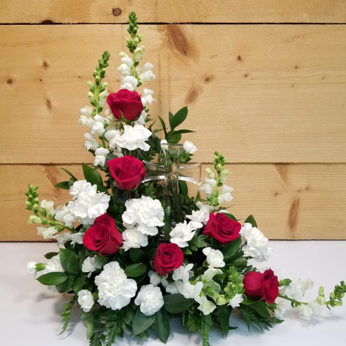 The Divine Cross Bouquet (SCF18D27) by Savilles Country Florist.  Christmas Flower Arrangements, Centerpieces and Plant delivery to Orchard Park, NY and the surrounding area including same day delivery to Hamburg, West Seneca, East Aurora, Blasdell and Buffalo NY