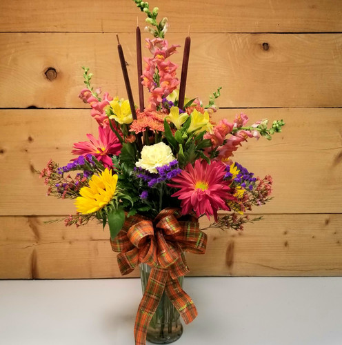 Autumn in Bloom (SCF18F07) by Savilles Country Florist.  Flower and Plant delivery to Orchard Park, NY and the surrounding area including same day delivery to Hamburg, West Seneca, East Aurora, Blasdell and Buffalo NY