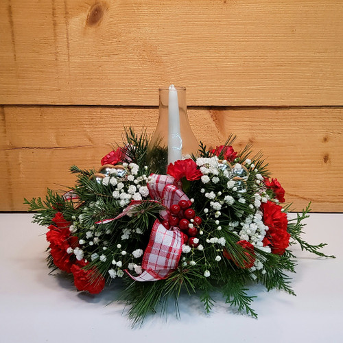 Yuletide Glow (SCF18C02) by Savilles Country Florist.  Christmas Flower Arrangements, Centerpieces and Plant delivery to Orchard Park, NY and the surrounding area including same day delivery to Hamburg, West Seneca, East Aurora, Blasdell and Buffalo NY