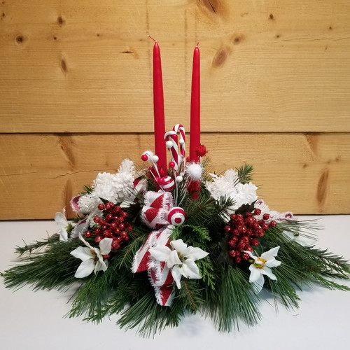 Candy Cane Illumination (SCF18C03) by Savilles Country Florist.  Christmas Flower Arrangements, Centerpieces and Plant delivery to Orchard Park, NY and the surrounding area including same day delivery to Hamburg, West Seneca, East Aurora, Blasdell and Buffalo NY